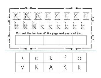 Handwriting workbook, Letter K