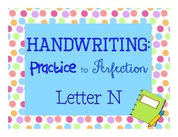 Handwriting workbook, Letter N