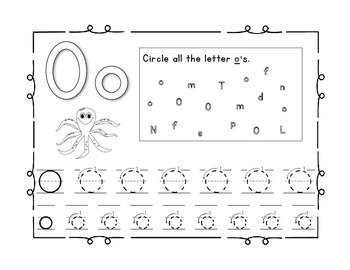 Handwriting workbook, Letter O