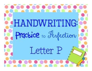 Handwriting workbook, Letter P