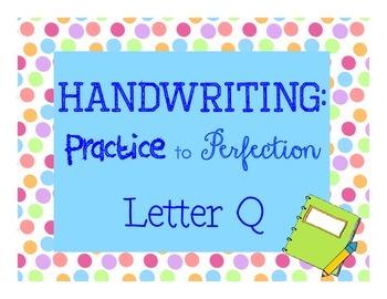 Handwriting workbook, Letter Q