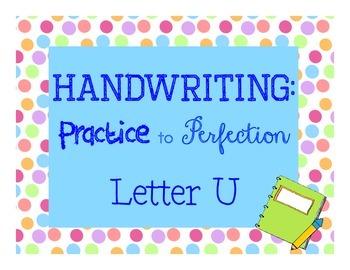 Handwriting workbook, Letter U