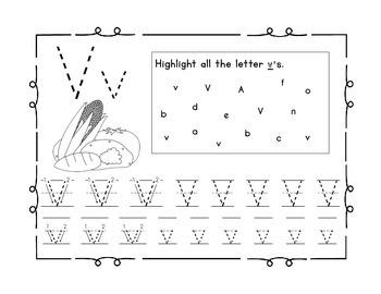 Handwriting workbook, Letter V