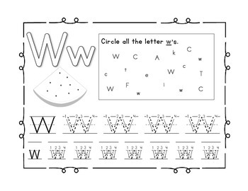 Handwriting workbook, Letter W