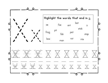 Handwriting workbook, Letter X