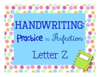Handwriting workbook, Letter Z