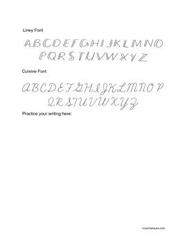Handwritten Fonts.  Art class handout for writing fancy by hand.