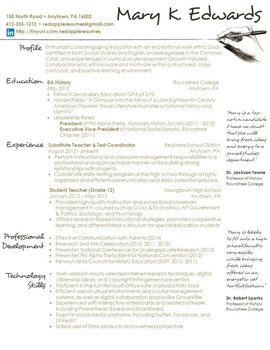 Creative Teacher Resume - Handwritten Template