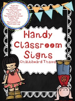 Handy Classroom Signs With Chalkboard Background