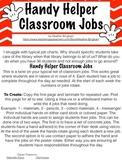 Handy Helper Classroom Job Rotation Numbers