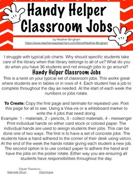 Handy Helper Classroom Job Rotation Numbers