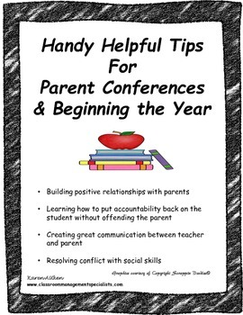 Handy Helpful Tips for Parent Conferences & Beginning the Year