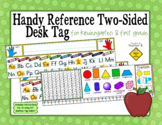 Handy Reference Two-Sided Name Tag (Desk Plate) for Kindergarten & First Grade
