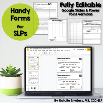 Handy SLP Editable Forms for Attendance, Accommodations, & Scheduling