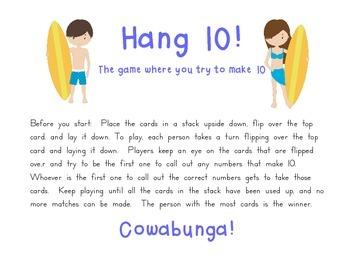 Hang 10: A sums of ten practice game