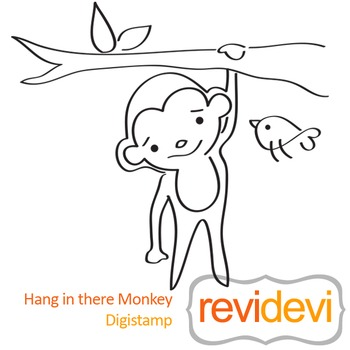 Hang in there monkey (digital stamp, coloring image) S013