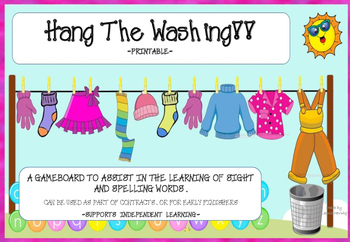 Hang the Washing Spelling and Sight Word Gameboard Free