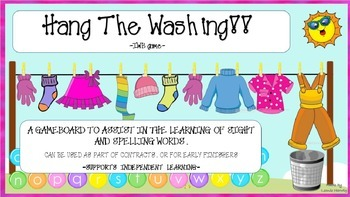 Hang the Washing Spelling and Sight Word IWB Game Free