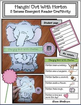 "5 Senses Activities: ""Hangin' Out With Horton!"" 5 Senses Emergent Reader Craft"