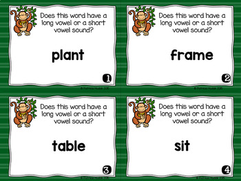 Task Cards for Identifying Long and Short Vowel Sounds in Words