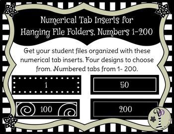 Hanging File Folder Label Inserts, Numbered 1 - 200