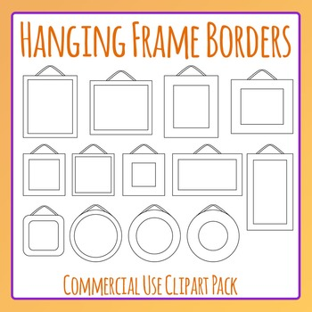 Hanging Frames Clip Art Set for Commercial Use - Great for Borders, Notes Etc