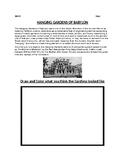 Hanging Gardens of Babylon Worksheet
