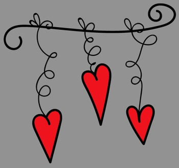 Hanging Hearts Clip Art - Whimsy Workshop Teaching