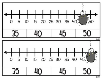Hanging Out on the Number Line Skip Counting Clip Cards