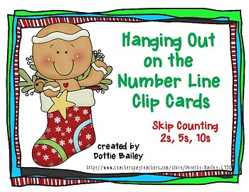 Hanging Out on the Number Line Skip Counting Clip Cards - Stockings