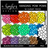 Hanging Pom Poms Clipart {A Hughes Design}
