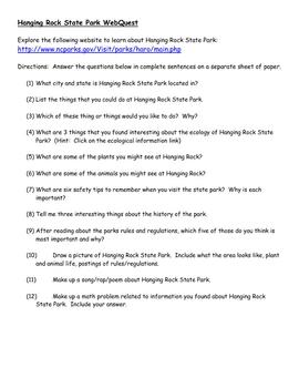 Hanging Rock State Park Webquest