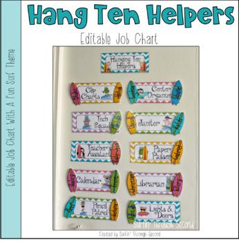 hanging ten helpers surf themed classroom job chart editable tpt
