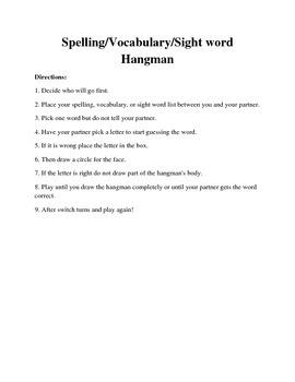 Hangman Literacy Center Game