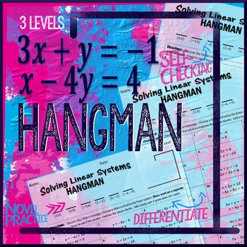 Hangman: Solving Linear Systems Practice by Algebra Simplified | TpT