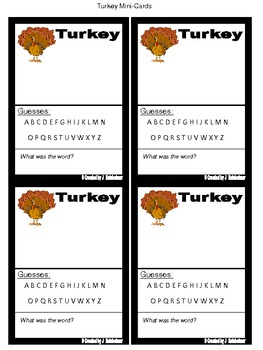 Hangman TURKEY Word Game (Centers)
