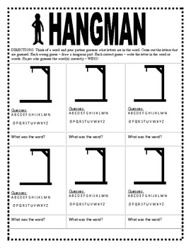 photograph regarding Printable Hangman identify Hangman Phrase Match Templates (Facilities)