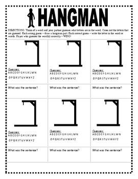 Hangman WORD Game Templates (Centers)