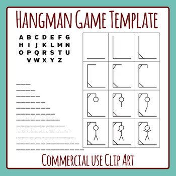 Hangman Word Game Template Clip Art Set for Commercial Use