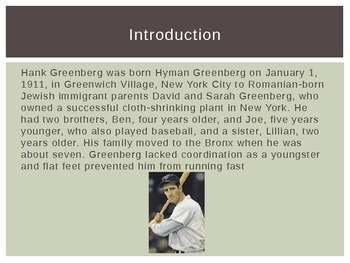 Hank Greenberg Biography and Comprehension Questions Powerpoint