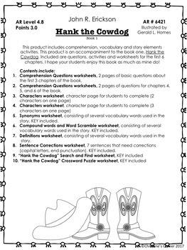 Hank the Cowdog The Original Adventures Chapters 1 thru 6 Novel Study Worksheets