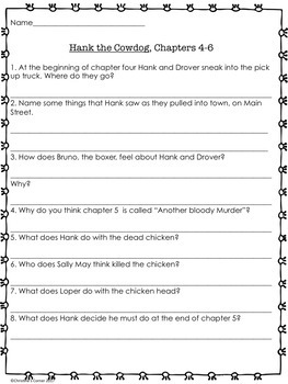 Hank the Cowdog The Original Adventures Chapters 1 thru 6 Novel Study Worksheets