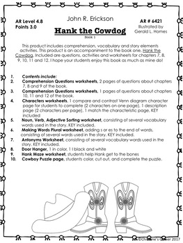 Hank the Cowdog The Original Adventures Chapters 7 thru 12 Worksheets printables