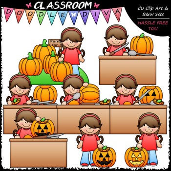 Hannah Carves A Pumpkin Clip Art - Sequence Clip Art & B&W Set