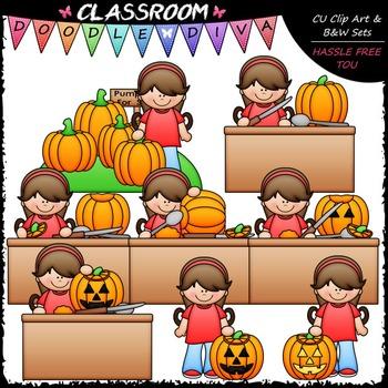 Hannah Carves A Pumpkin Clip Art - Sequence Clip Art