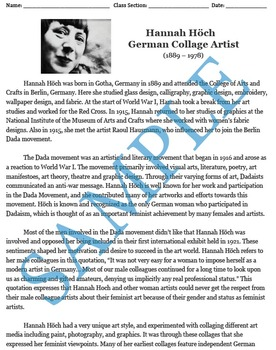 Hannah Höch Artist Biography and Comprehension Questions