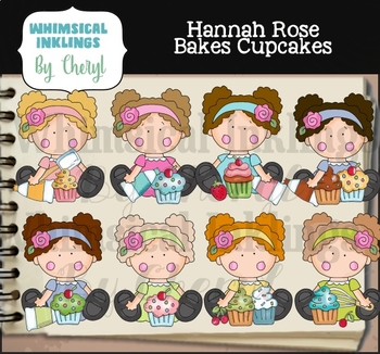 Hannah Rose Bakes Cupcakes Clipart Collection