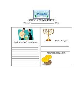 Hannukah Happenings December Weekly Newsletter Template