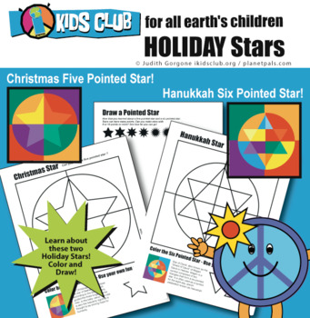 Hannukah Star Christmas Star Holidays Color Draw Activity Learn Differences