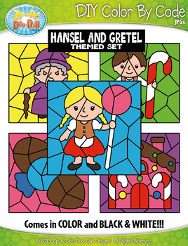 Hansel and Gretel Color By Code Clipart {Zip-A-Dee-Doo-Dah Designs}